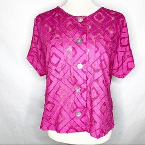 Ruby Rd. Pink Button Down Blouse Sheer Panel Top